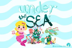 Digital Clipart  Under The Sea