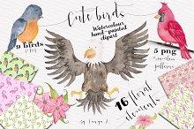 Cute Birds Watercolor Set