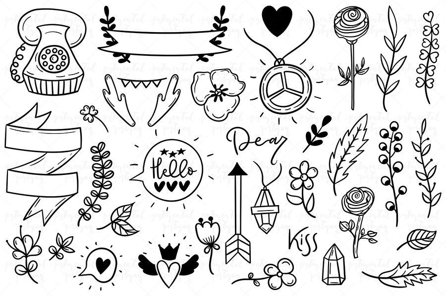 doodles cute boho doodle copy hand drawn illustrations elements