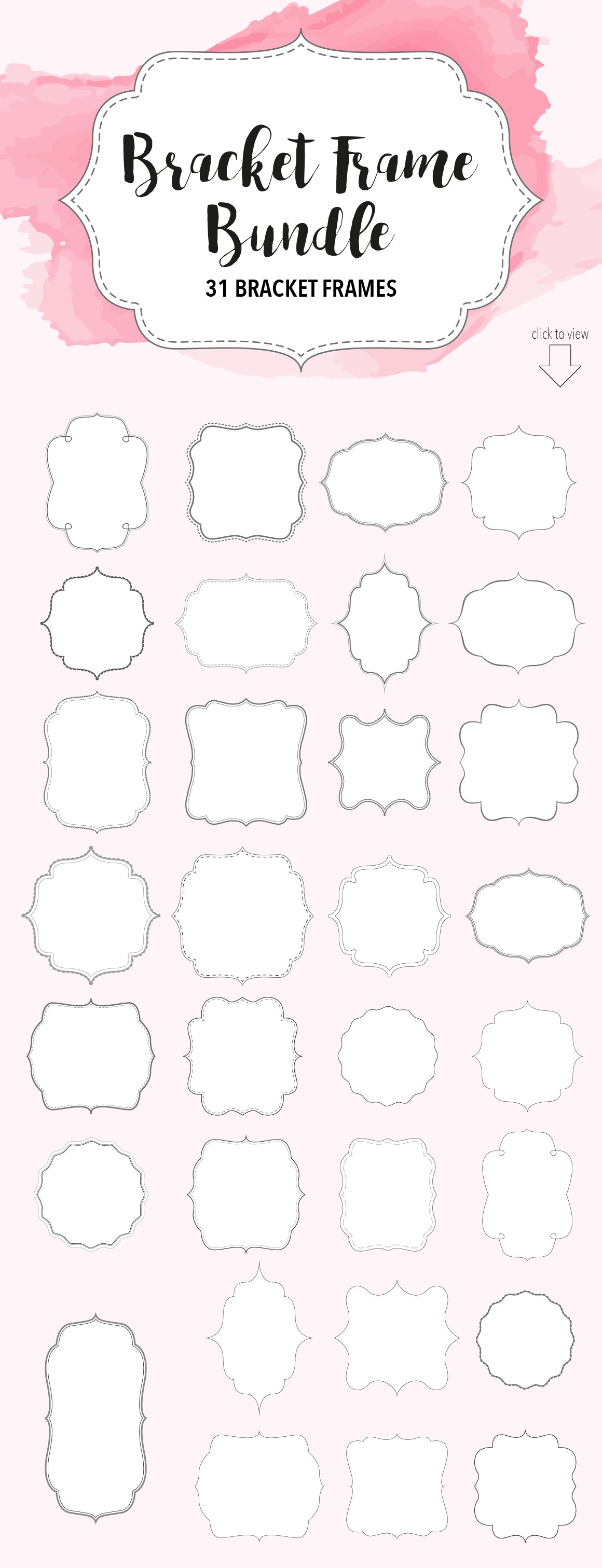 Bracket Frame Bundle // Vector, PNG ~ Objects ~ Creative Market