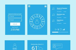 Mobile interface flat blue