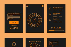 Mobile interface flat orange