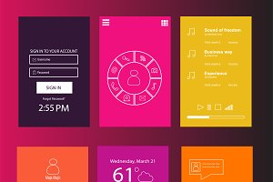 Mobile interface colored vector