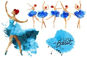 Blue ballet.watercolor