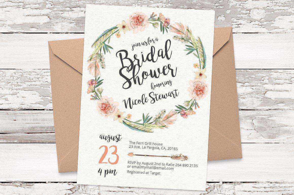 floral wreath invitation template 05 invitation templates creative market