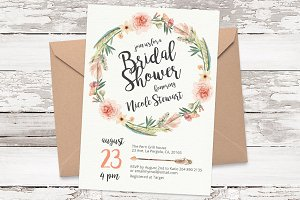 Floral wreath invitation template 05