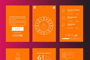 Mobile interface flat orange color