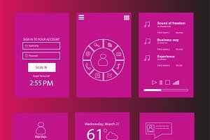 Mobile interface pink flat design
