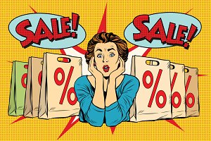 surprised woman sales discounts
