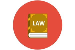 Law book icon flat