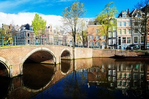 Houses and bridges of Amsterdam