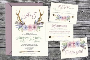 Tribal lavender wedding templates 08