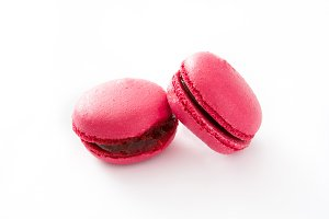 Pink macaroons isolated