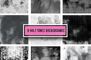 9 Halftone backrounds +BONUS.