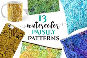 Watercolor PAISLEY Patterns