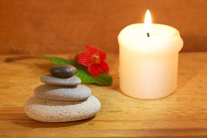 Spa concept with candle