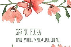 Spring Flora Watercolor Flowers