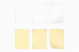 Yellow & white stick note paper set.