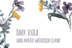 Dark Viola Watercolor Flowers