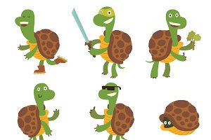Cartoon turtles vector set.