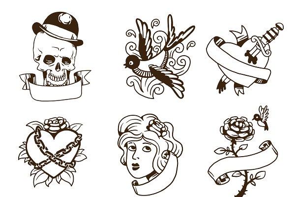 Old vintage tattoo vector set
