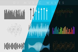 Dj Sound music waves. Musical pulse