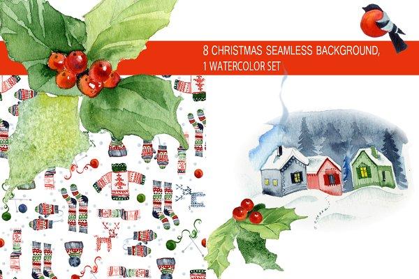 Christmas seamless patterns & kit
