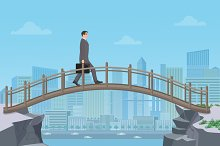 Businessman going on bridge city.