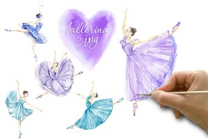 Watercolor ballerina Set 1