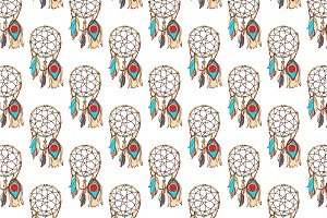 dreamcatcher seamless pattern