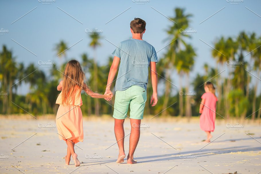 Happy Father And His Adorable Little Daughter At Tropical Beach Caucasian Family Having Fun Together