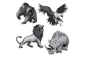 Rhino, hawk, grizzly bear and lion