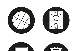 Basketball. 4 icons set. Vector