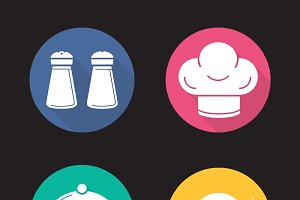 Restaurant kitchen. 4 icons. Vector