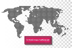 12 World maps halftone set.