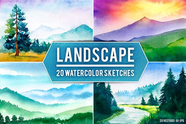 Landscape. Watercolor sketches.