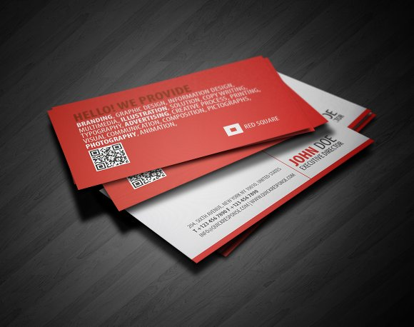 Red square qr business card business card templates creative red square qr business card business cards reheart Gallery
