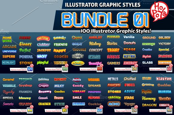 Illustrator Graphic Styles Bundle 01 Illustrator Add Ons