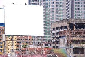 blank billboard in city backgroud