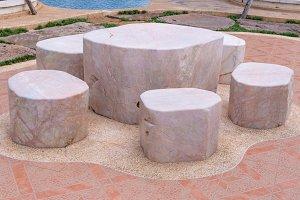 Marble stone garden bench
