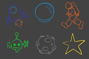 Children Space Chalk Board Drawings