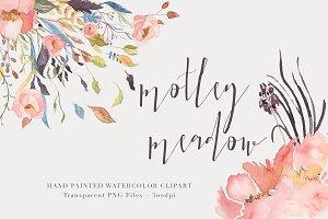 Watercolor Floral Clipart - Motley