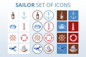 Hand-drawn Sailor Icon Set in 600dpi