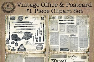 Vintage Office & Postcard Clipart