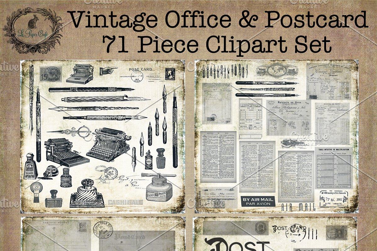 Vintage Office & Postcard Clipart