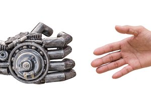man handshake with cy-ber robot