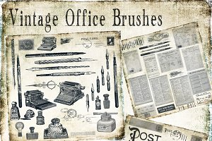 Vintage Office & Postcard Brush Set