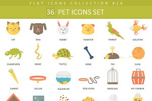 36 Garden color flat icons set.