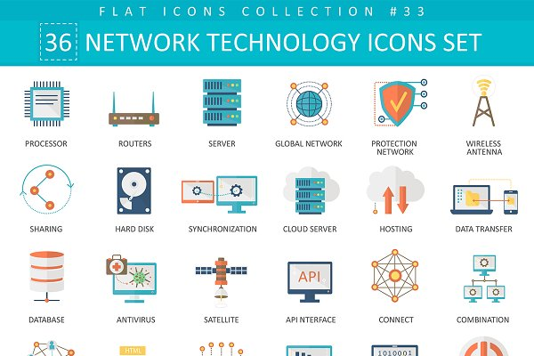 Network technology flat icons set.