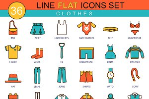 Clothes & shoes flat line icon set